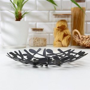 Блюдо для фруктов «Приборы», 30?39?4 см, цвет чёрный