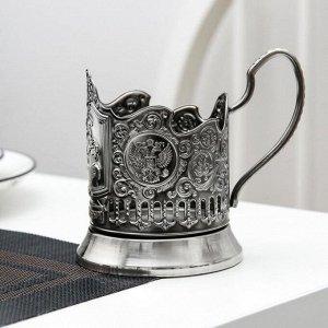 Подстаканник «Медный всадник», никелированный, с чернением