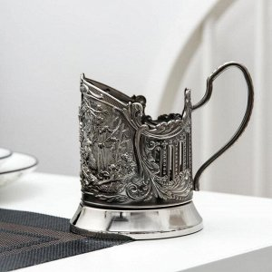 Подстаканник «Мишки в лесу», никелированный, с чернением