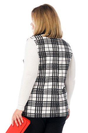 """Жилет-3499 Жилет """"клетка"""" с отложным воротом с карманом белый с черным     Элегантный жилет выполнен в классическом стиле прямого кроя без подкладки. V-образный вырез оформлен отложным воротником с"""
