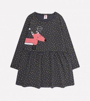 Платье для девочки Crockid К 5642 темно-серый, горошки