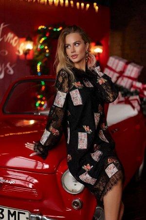 Платье Платье Vesnaletto 2491  Состав ткани: ПЭ-95%; Спандекс-5%;  Рост: 164 см.  Комплект платье и нижнее платье  Платье прямого силуэта. Выполнено из сетки с вышивкой, с отделкой из кружева по горл