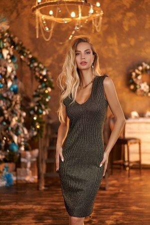 Платье Платье Vesnaletto 2509-1  Состав ткани: Вискоза-80%; ПЭ-15%; Люрекс-5%;  Рост: 164 см.  Комплект: платье и болеро.  Платье прилегающего силуэта, выполнено из трикотажного полотна с люрексом, н