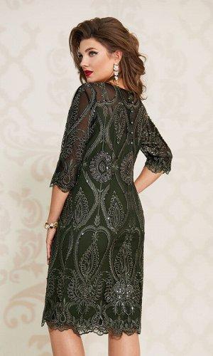 Платье Платье Vittoria Queen 10543/2 темно-зеленый  Состав ткани:Платье: ПЭ-100%; Подкладка: ПЭ-95%; Спандекс-5%;  Рост: 164 см.  СМОТРЕТЬ ВИДЕО   Эффектное, красивое платье из гипюра с пайетками пол