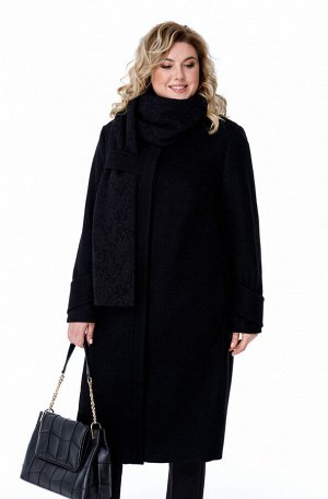Пальто Пальто Pretty 1881 черный  Состав ткани: ПЭ-40%; Шерсть-60%;  Рост: 164 см.  Пальто женское на подкладке прямого силуэта, выполненное из добротной пальтовой ткани. Пальто имеет смещенные релье