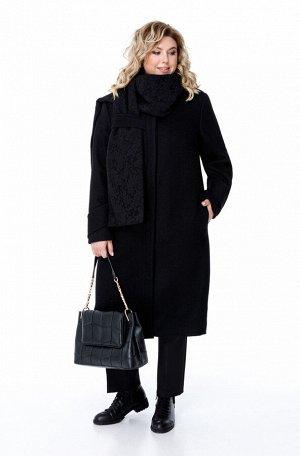 Пальто Пальто Pretty 1881 черный  Состав: ПЭ-40%; Шерсть-60%; Сезон: Осень-Зима Рост: 164  Пальто женское на подкладке прямого силуэта, выполненное из добротной пальтовой ткани. Пальто имеет смещенны