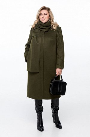 Пальто Пальто Pretty 1162 хаки  Состав ткани: ПЭ-40%; Шерсть-60%;  Рост: 164 см.  Пальто женское на подкладке прямого силуэта, выполненное из добротной пальтовой ткани. Пальто имеет смещенные рельефн