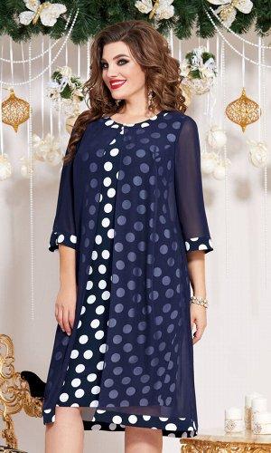Платье Платье Vittoria Queen 13173 синий в горох  Состав ткани: ПЭ-100%;  Рост: 164 см.  СМОТРЕТЬ ВИДЕО   Великолепное платье - находка для вашего гардероба! Очень приятный шифон придаёт свежесть обр