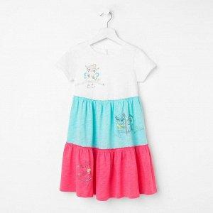 Платье для девочки, цвет молочный/розовый,мятный, рост 104 см