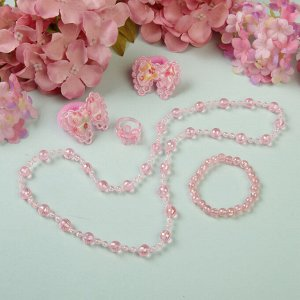 """Набор детский """"Выбражулька"""" 5 предметов: 2 резинки, бусы, браслет, кольцо, бантики, цвет розовый"""