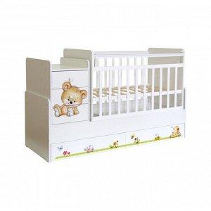 Кровать детская Фея 1100 Медвежонок, белый