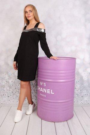 М676 Платье на бретелях  с сереб. вставками, футер с лайкрой,р.42-52.Состав:65% п/э,30% хлоп.5% эл.