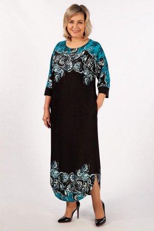 Платье Синий/черный, бирюзовый/черный.  Эффектное длинное платье прямого свободного силуэта с цельнокроеным рукавом. Длина рукава 3/4. В боковых швах выполнены потайные карманы. Оригинальный объём по