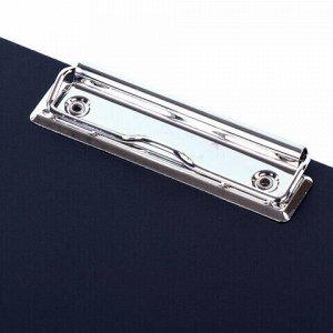 Папка-планшет STAFF, А4 (310х230 мм), с прижимом и крышкой, пластик, синяя, 0,5 мм, 229220