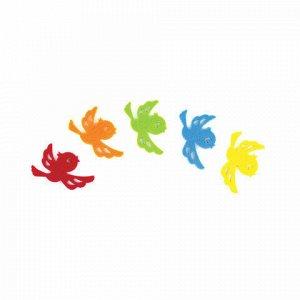 """Наклейки из фетра """"Птички"""", 5 шт., одноцветные, ассорти, ОСТРОВ СОКРОВИЩ, 661491"""