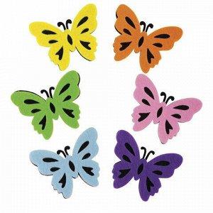 """Наклейки из фетра """"Бабочки"""", двухцветные, 6 шт., ассорти, ОСТРОВ СОКРОВИЩ, 661492"""