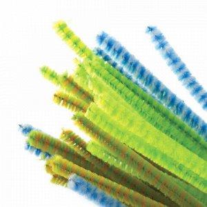 """Проволока синельная для творчества """"Пушистая"""", двухцветная, 6 цв., 30 шт., 0,6х30 см, Вид 1, ОСТРОВ СОКРОВИЩ, 661523"""