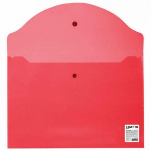 Папка-конверт с кнопкой STAFF, А4, до 100 листов, прозрачная, красная, 0,12 мм, 225172