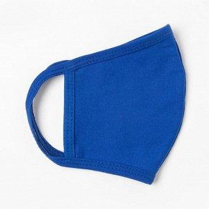 Повязка двуслойная тканевая взрослая 28х16 см, синий, кулирная гладь, хлопок 100%