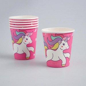 Набор посуды «С Днём Рождения», единорог, цвет розовый