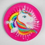 Тарелка бумажная «Единорог и радуга», набор 6 шт.