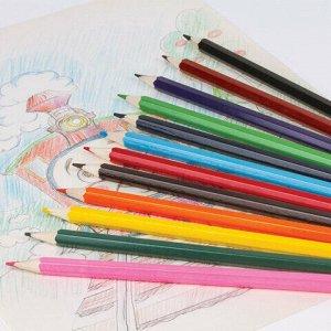 """Карандаши цветные ПИФАГОР """"Сказочный мир"""", 12 цветов, заточенные, картонная упаковка, дизайн ассорти, 180240"""