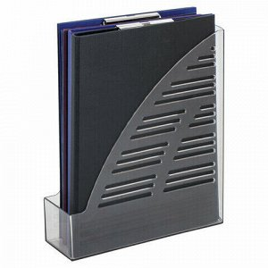 "Лоток вертикальный для бумаг BRAUBERG ""Standard"", 245х70х295 мм, тонированный серый, 237222"