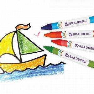 Восковые карандаши утолщенные BRAUBERG, 6 цветов, 222965