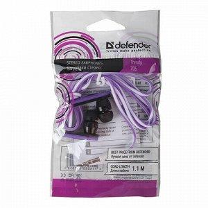 Наушники DEFENDER Trendy 705, проводные, 1,1 м, вкладыши, черные с сиреневым, 63705