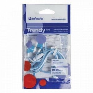 Наушники DEFENDER Trendy 702, проводные, 1,1 м, вкладыши, белые с голубым, 63702