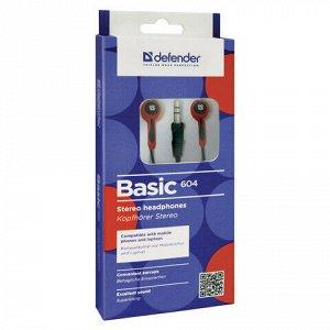 Наушники DEFENDER Basic 604, проводные, 1,2 м, вкладыши, черные с красным, 63605