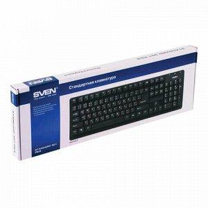 Клавиатура проводная SVEN Standard 301, USB, 104 клавиши, чёрная, SV-03100301UB