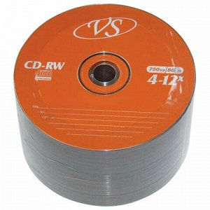 Диски CD-RW VS 700 Mb 4-12x, КОМПЛЕКТ 50 шт., Bulk, VSCDRWB5001