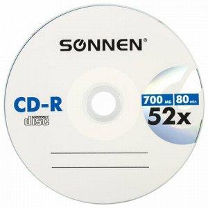 Диск CD-R SONNEN, 700 Mb, 52x, бумажный конверт (1 штука), 512573