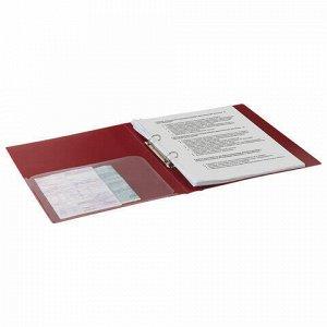 "Папка на 2 кольцах BRAUBERG ""Стандарт"", 25 мм, красная, до 170 листов, 0,8 мм, 221614"