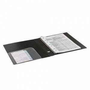 """Папка на 4 кольцах BRAUBERG """"Диагональ"""", 40 мм, черная, до 300 листов, 0,9 мм, 221349"""