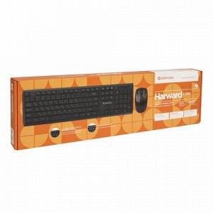 Набор беспроводной DEFENDER Harvard C-945 Nano, клавиатура, мышь 3 кнопки+1 колесо-кнопка, черный, 45945
