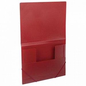 Папка на резинках BRAUBERG, стандарт, красная, до 300 листов, 0,5 мм, 221622