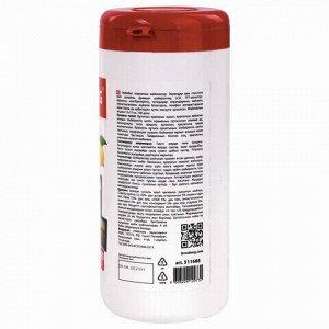"""Салфетки для экранов всех типов и пластика BRAUBERG с ароматом """"ЛИМОН"""", туба 100 шт., влажные, 511688"""