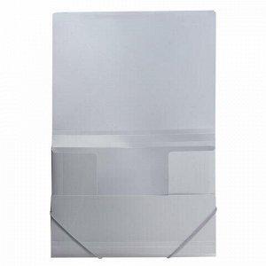 Папка на резинках BRAUBERG, диагональ, серебряная, до 300 листов, 0,5 мм, 221336