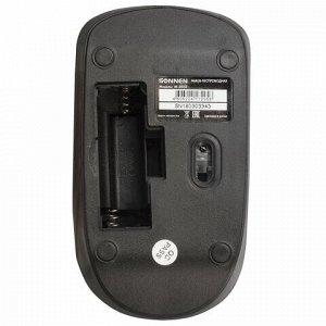 Мышь беспроводная SONNEN M-3032, USB, 1200 dpi, 2 кнопки + 1 колесо-кнопка, оптическая, черная, 512640