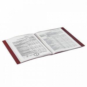 Папка 30 вкладышей BRAUBERG стандарт, красная, 0,6 мм, 221598