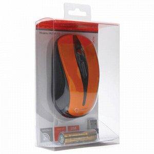 Мышь беспроводная GEMBIRD MUSW-325, 2 кнопки + 1 колесо-кнопка, оптическая, оранжевая, MUSW-325-O