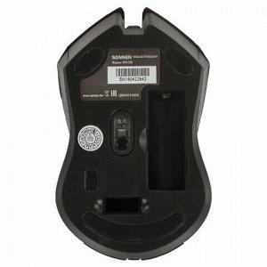 Мышь беспроводная SONNEN WM-250Br, USB, 1600 dpi, 3 кнопки + 1 колесо-кнопка, оптическая, бордовая, 512641