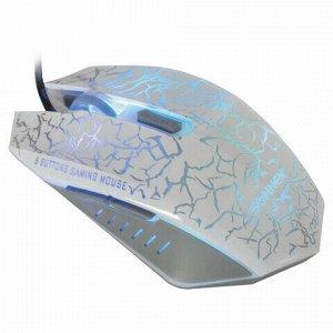 Мышь проводная игровая SONNEN GM-17, USB, 2400 dpi, 6 кнопок, оптическая, LED-подсветка, белая, 512639