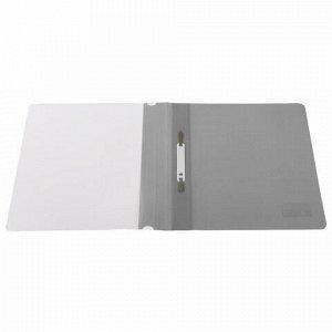 Скоросшиватель пластиковый BRAUBERG, А4, 130/180 мкм, серый, 220387