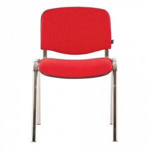 """Стул для персонала и посетителей BRABIX """"Iso CF-001"""", хромированный каркас, ткань красная с черным, 531423"""