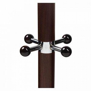 """Вешалка-стойка BRABIX """"CR-282"""", металл/мрамор, 1,8 м, на диске диаметром 36 см, 6 крючков + 4 дополнительных, коричневая, 601745"""