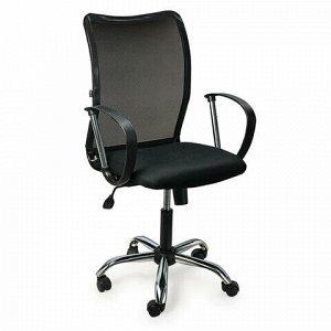 """Кресло BRABIX """"Spring MG-308"""", с подлокотниками, хром, ткань черная TW, 531403"""
