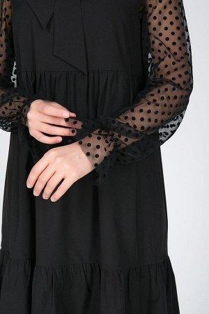 Платье Мариэтта №1.Цвет:черный/горох